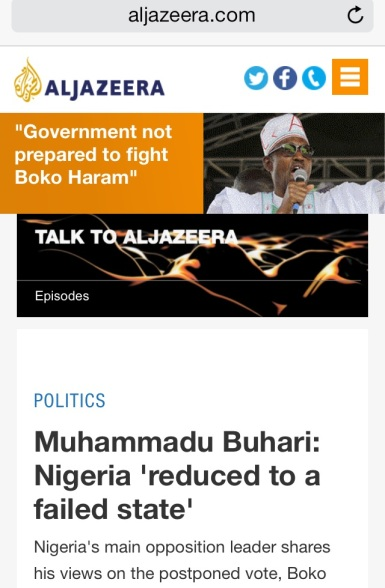 Buhari on Aljazeera - Failed State